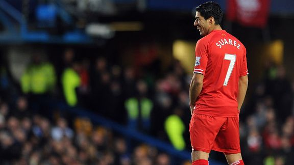 Luis Suarez was in a happy mood on his return to Stamford Bridge.