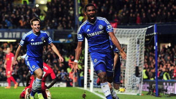 Samuel Eto'o celebrates after scoring for Chelsea against Liverpool.