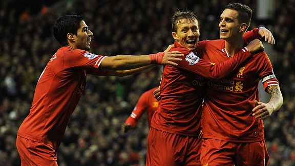 Luis Suarez and Lucas celebrate with Dan Agger after he headed Liverpool in front against Hull.