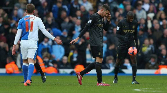 Javi Garcia dejected Man City vs Blackburn
