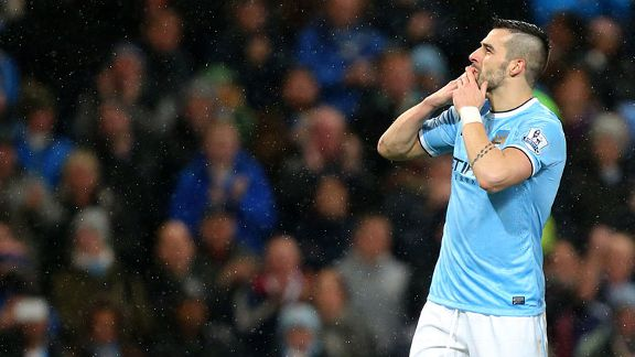 Alvaro Negredo kiss celeb third hat trick City v West Ham
