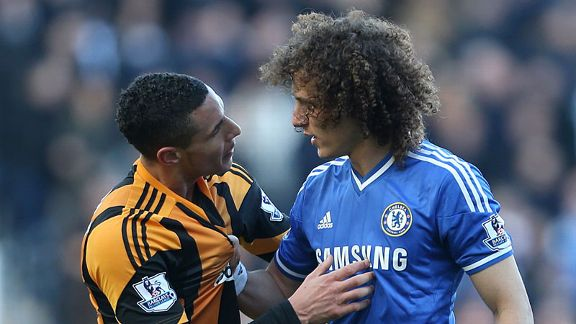 Jake Livermore David Luiz fight Hull Chelsea