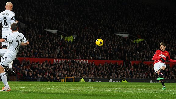 Man Utd's Adnan Januzaj takes a free kick against Swansea.