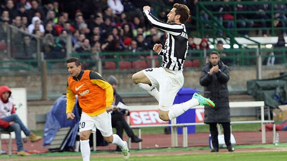 Claudio Marchisio celebrates his goal against Cagliari.