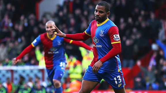 Jason Puncheon puts Palace a goal to the good against Stoke.