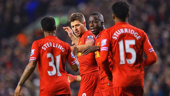 Steven Gerrard is congratulated after bringing Liverpool back on level terms.