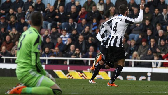 Yohan Cabaye scored twice to see Newcastle to victory at Upton Park.
