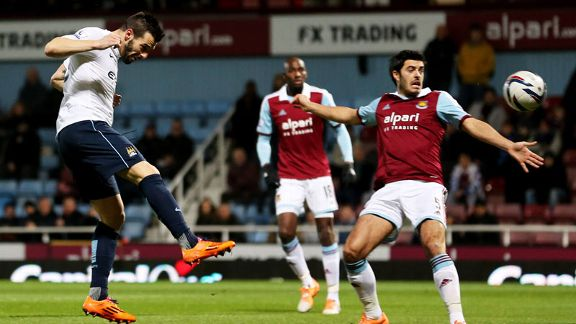 Alvaro Negredo goal header West Ham Man City
