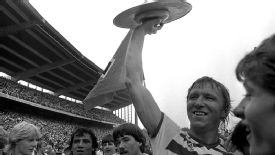 Hamburg captain Horst Hrubesch holds up the Bundesliga shield in 1983, the last time they were German champions.