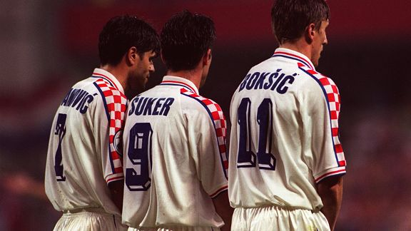 Strike partners and rivals Davor Suker and Alen Boksic line up for Croatia.