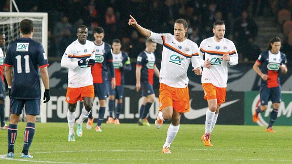 Daniel Congre of Montpellier celebrate his goal against PSG.