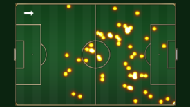 Juan Mata's touchmap from Chelsea's 3-3 draw against Manchester United in February 2012.