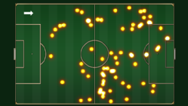 The areas where Juan Mata was active on the ball in Chelsea's 4-2 win over Spurs in October 2012.