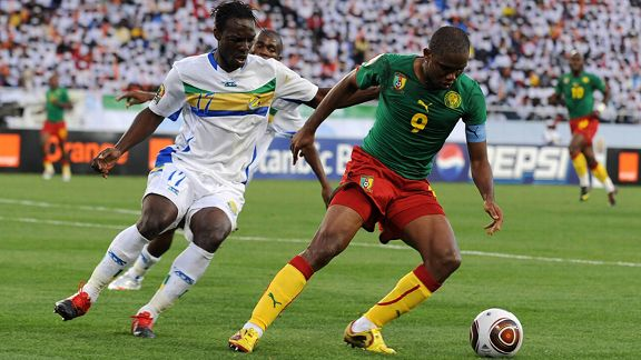 Gabon's Daniel Cousin in action against Cameroon at the ANC.