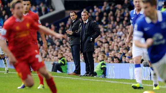 Liverpool boss Brendan Rodgers and Everton manager Roberto Martinez.