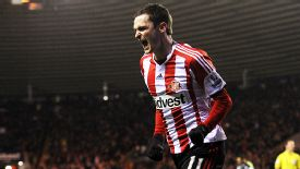 Adam Johnson celebrates after his rich vein of form continued as he put Sunderland in front against Stoke.