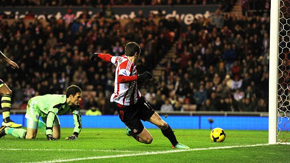 Adam Johnson puts Sunderland in front against Stoke.