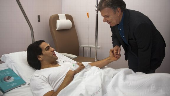 Falcao and Colombian president hospital