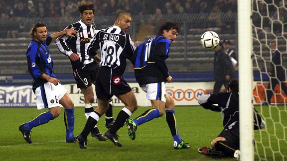 Inter's Andres Guglielminpietro scores an own goal against Juve in 2003.