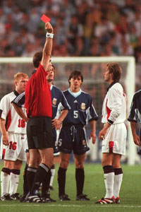 David BEckham red card vs Argentina