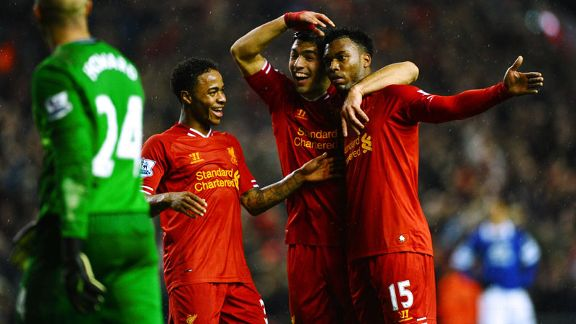 Raheem Sterling, Luis Suarez and Daniel Sturridge Liverpool vs Everton