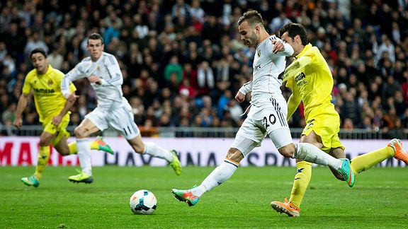 Jese scores Real Madrid's third goal against Villarreal.
