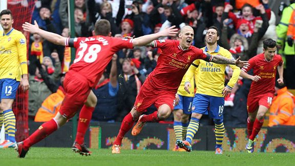 Martin Skrtel second goal celeb Liverpool Arsenal