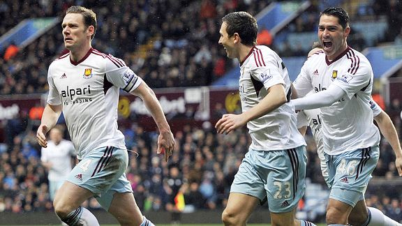 Kevin Nolan scored twice as West Ham claimed a superb victory at Aston Villa.