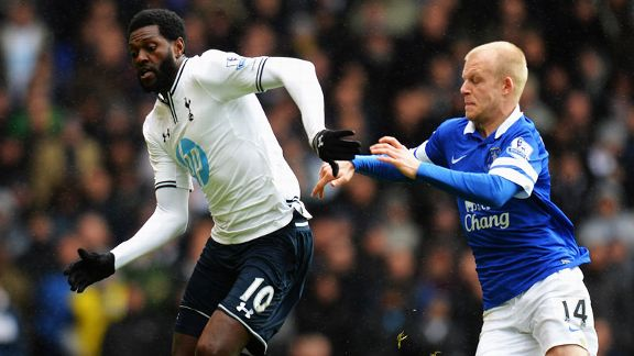 Emmanuel Adebayor Steven Naismith Tottenham Everton battle