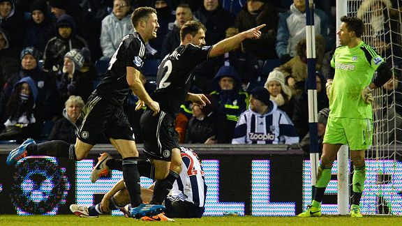 Joy for Chelsea after Branislav Ivanovic put them in front at West Brom.