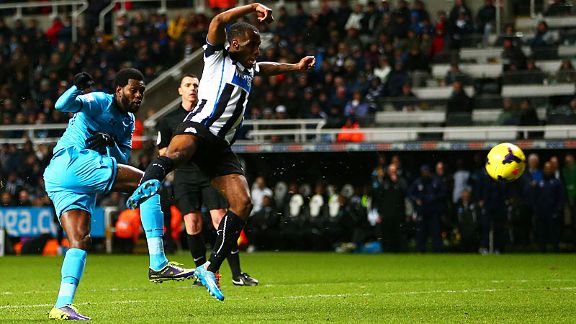 Emmanuel Adebayor scores his second of the night in Spurs' rout of Newcastle.