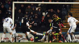 Oguchi Onyewu scores what proved to be Sheffield Wednesday's match-winner in the FA Cup at Rochdale.