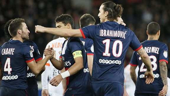 PSG celebrate after Zlatan Ibrahimovic doubled their advantage at Valenciennes.