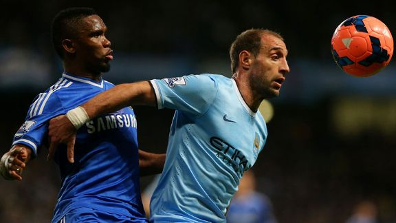 Pablo Zabaleta battle Samuel Etoo Chelsea Man City