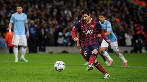 Lionel Messi penalty Man City vs Barcelona