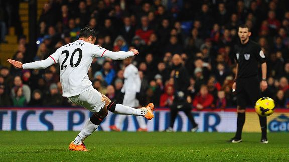 Robin van Persie fires Man United in front from the spot at Crystal Palace.