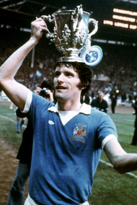 Mike Doyle Manchester City LEague Cup trophy vertical