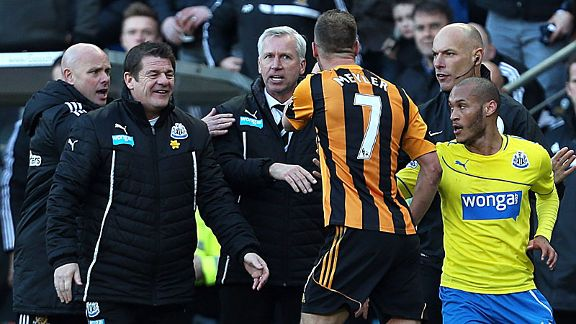 Alan Pardew and David Meyler exchange angry words after the Newcastle manager appeared to headbutt the Hull player.