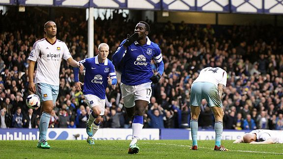 Romelu Lukaku celebrates his late goal as Everton edged to victory against West Ham.