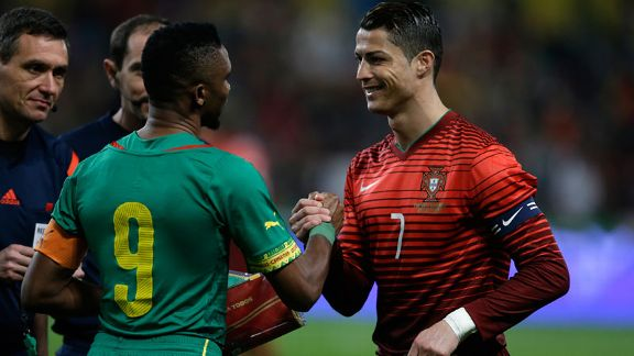 Cristiano Ronaldo put in another captain's display as Portugal routed Samuel Eto'o's Cameroon.