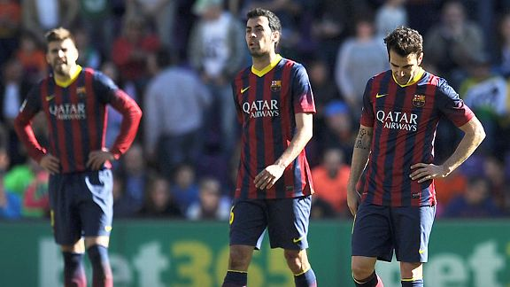 Barcelona players look stunned at Real Valladolid.