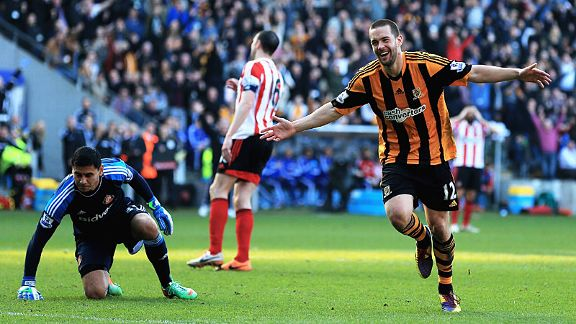 Matty Fryatt couldn't believe his luck after Lee Cattermole's back-pass presented the striker will Hull's third goal.