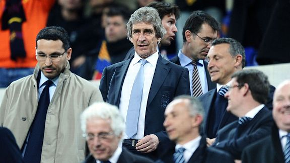 Manuel Pellegrini was forced to watch on from the stands at Camp Nou due to a UEFA ban.
