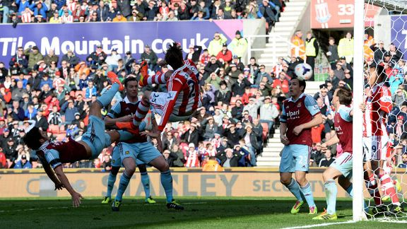 Peter Crouch acrobatically assists Stoke's opening goal against West Ham.