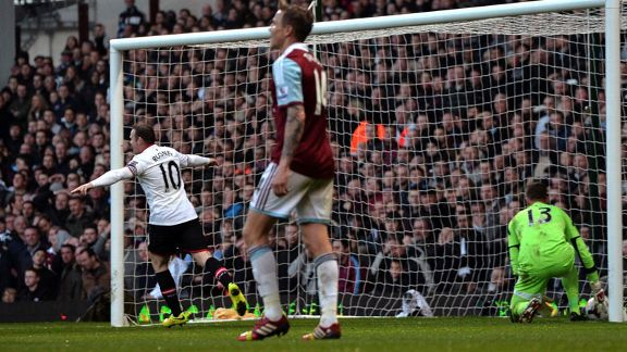 Wayne Rooney second goal celeb Man Utd vs West Ham 20140322