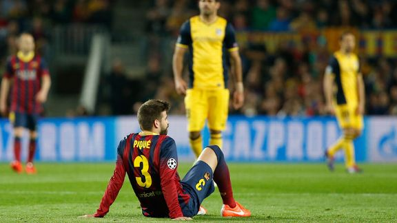 Gerard Pique injury Barcelona vs Atletico