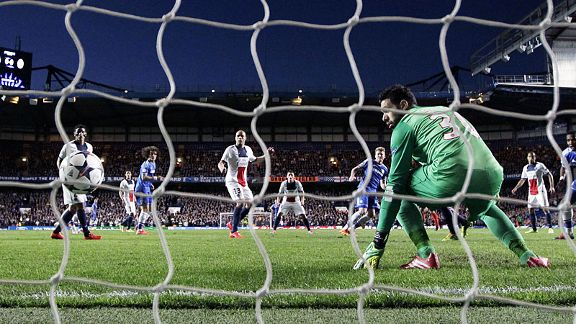 Salvatore Sirigu is rooted to the spot as Andre Schuerrle fires Chelsea in front.