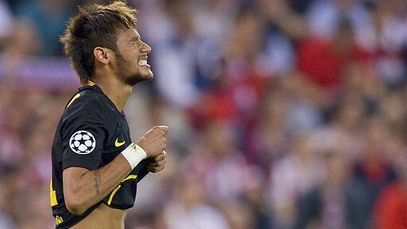 Neymar rues a missed chance as Barcelona crashed out of the Champions League to Atletico Madrid.