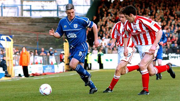 Graham Kavanagh in Cardiff colours during the playoff tie against old club Stoke in 2002.