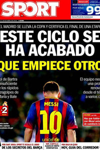 SPORT front cover Messi dejected